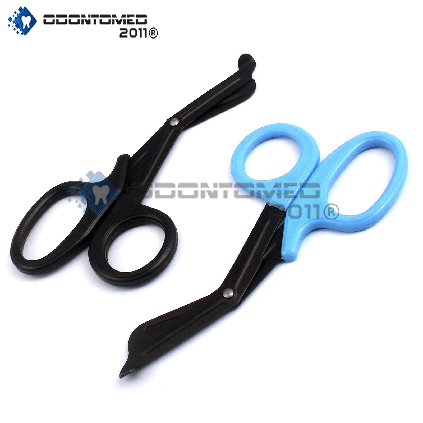 OdontoMed2011® EMT Trauma Shears - Stainless Steel Bandage Scissors for Nursing Purposes - Sharp 2-pack Scissor is Perfect for EMS, Doctors, Nurses, Cutting Bandages 5.5'' ( Black + Teal ) 5 1/2'' Emt