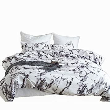 Black Microfiber Marble Printed Duvet Cover Bedding Set with Pillowcase All Size