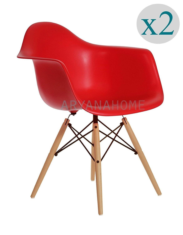 Aryana Home Eames Replik – Set Stühle, 59 x 62 x 82,50 cm 59 x 62 x 82.5 cm rot