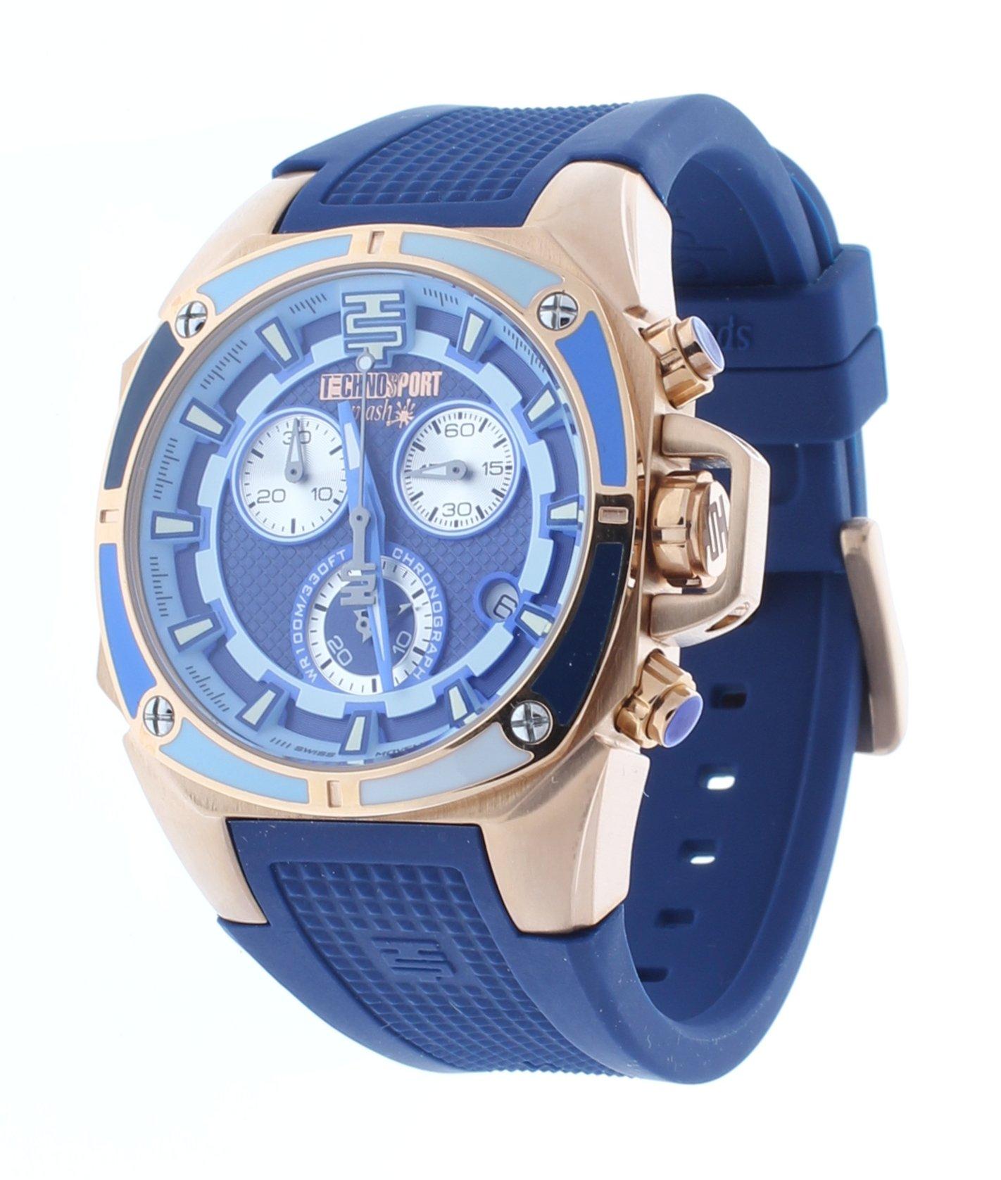 Technosport Swiss Chronograph Blue Silicone Strap 38mm Rose Gold Case Unisex Watch TS-100-Splash3
