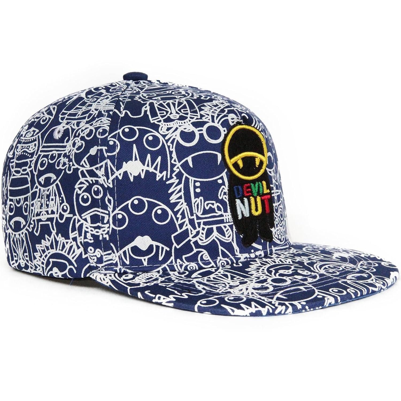 Rayna Fashion unisex flat bill visor hat hip hop cap print devil vampire graffiti