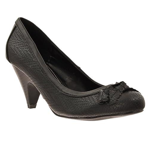 23983b05d2 Styluxe womens farrah bow detail low heel pumps black jpg 500x500 Styluxe  womens