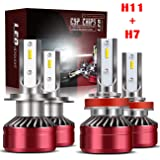 H11/H8/H9 LED Headlight Bulbs + H7 LED Headlight Bulbs Conversion Kit TURBO SII D6 Series CSP Chips Low Beam/Fog Light Bulbs with fans- 6000LM 6000K Cool White (4Pack,2 sets,Red)