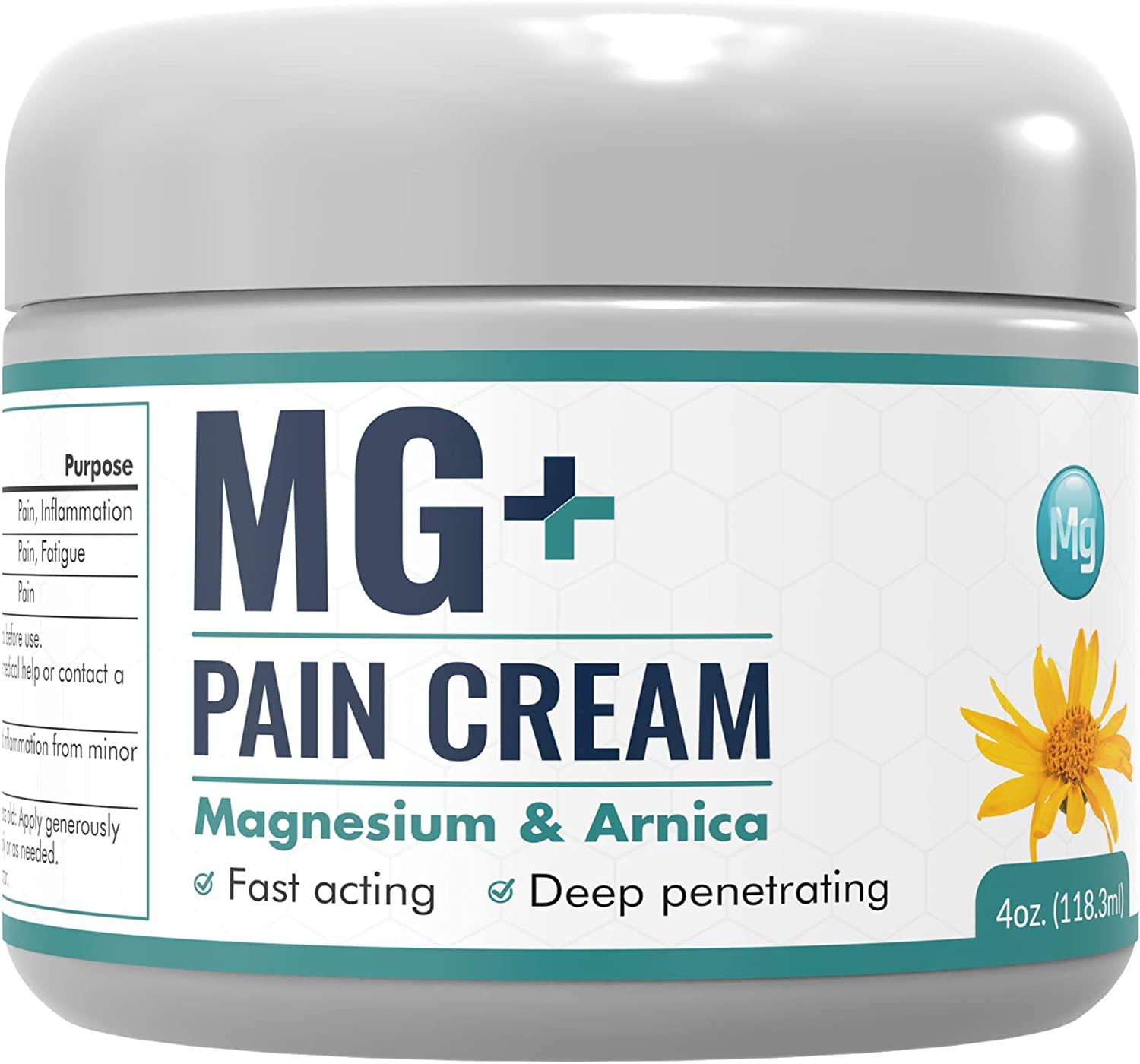 Mars Wellness MG+ Pain Cream - Extra Strength Magnesium and Arnica Cream - 4 OZ Tub - Sore Legs and Joints, Leg Cramps, Sports and Arthritis Pain Rub
