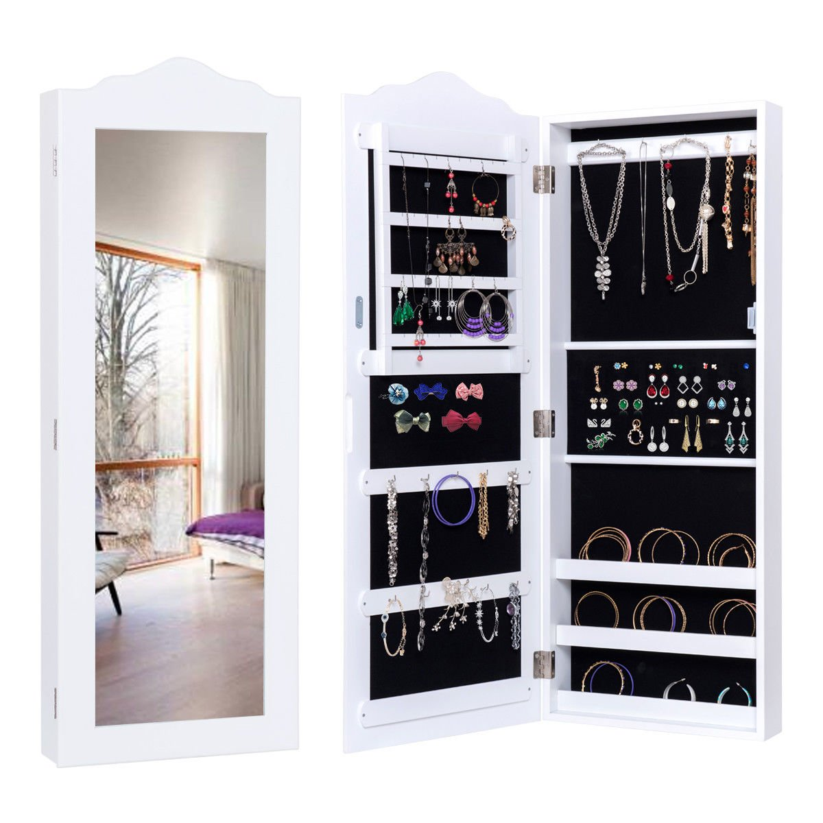 Mirrored White Jewelry Cabinet Armoire Storage Organizer Home Decor Wall Mounted