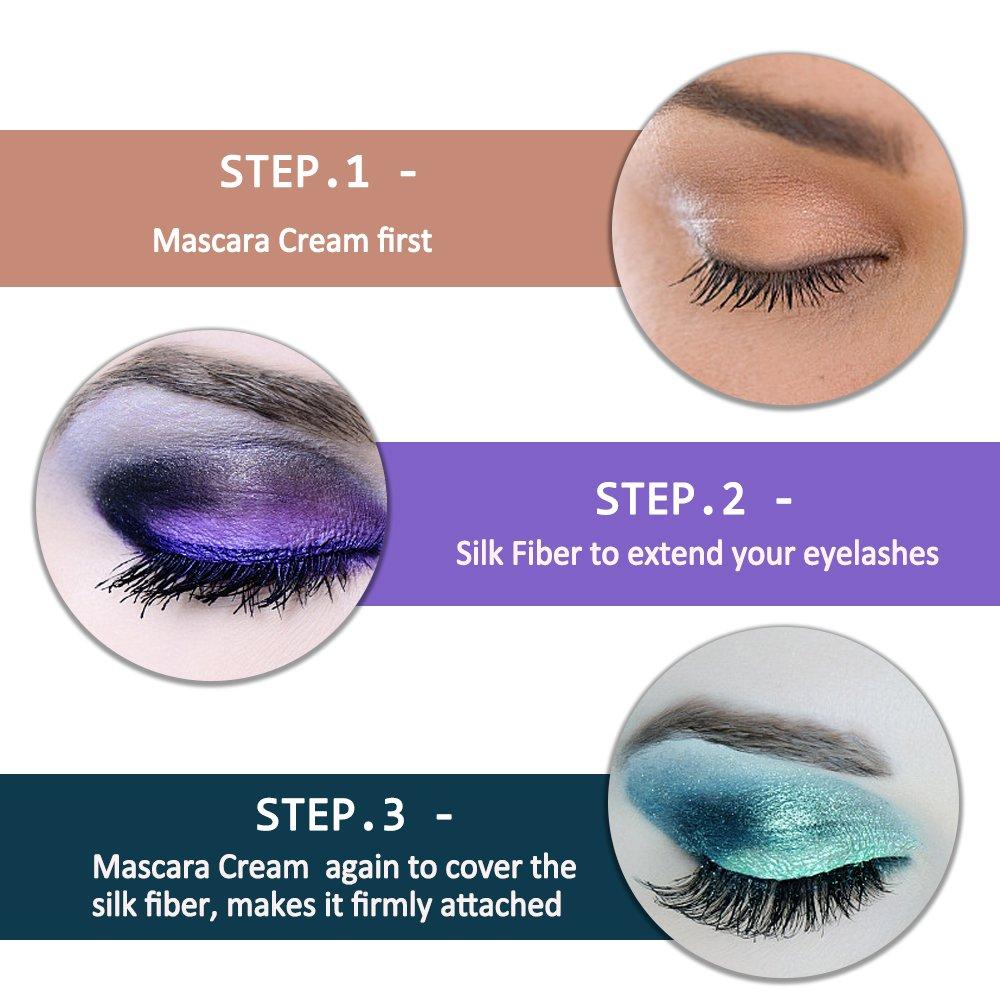 Amazon.com : Mascara Cream, MEINAIER 4D Silk Fiber Lash Mascara Eyelash Extension Thickening and Lengthening Mascara Black Washable Makeup Eyelash for Women ...