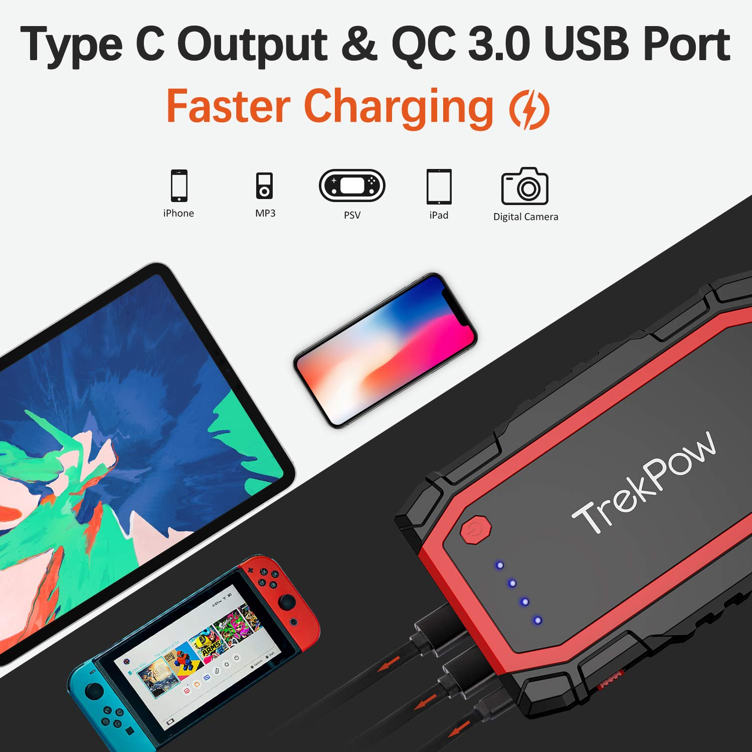 12V Auto Battery Booster Jump Pack Portable Jump Starter with Smart Jumper Cables QC3.0 Quick Charger /& Flashlight up to 6.0L Gas//5.0L Diesel Engine TrekPow A18 800A Peak Car Jump Starter