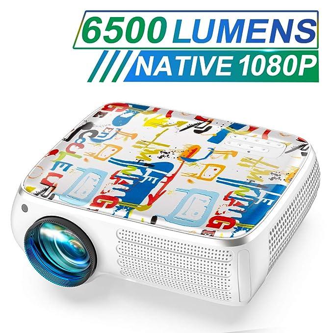 Proyector, TOPTRO 6500 Lúmenes Proyector Cine en Casa Full HD 1080P Nativo 1920x1080 Proyectores LCD con Cubierta Graffiti, Soporta 4K, Corrección Trapezoidal 4D, Fonction Zoom X/Y, Presentación PPT