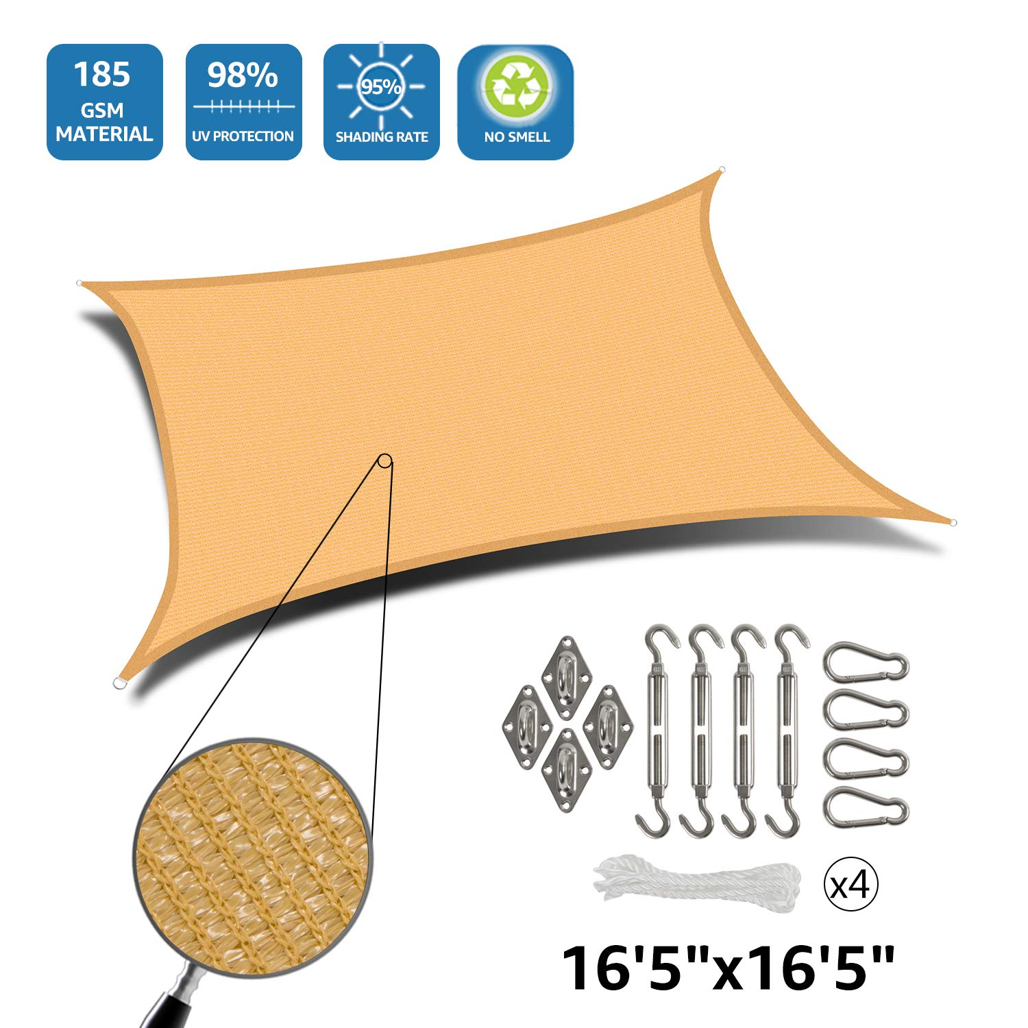 DOEWORKS Rectangle 16'5''x16'5'' Sun Shade Sail with Stainless Steel Hardware Kit, UV Block for Outdoor Patio Garden, Sand by DOEWORKS