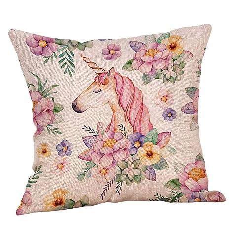 Bontand Cojín Unicornio Cubierta Linda del Unicornio Rosa ...