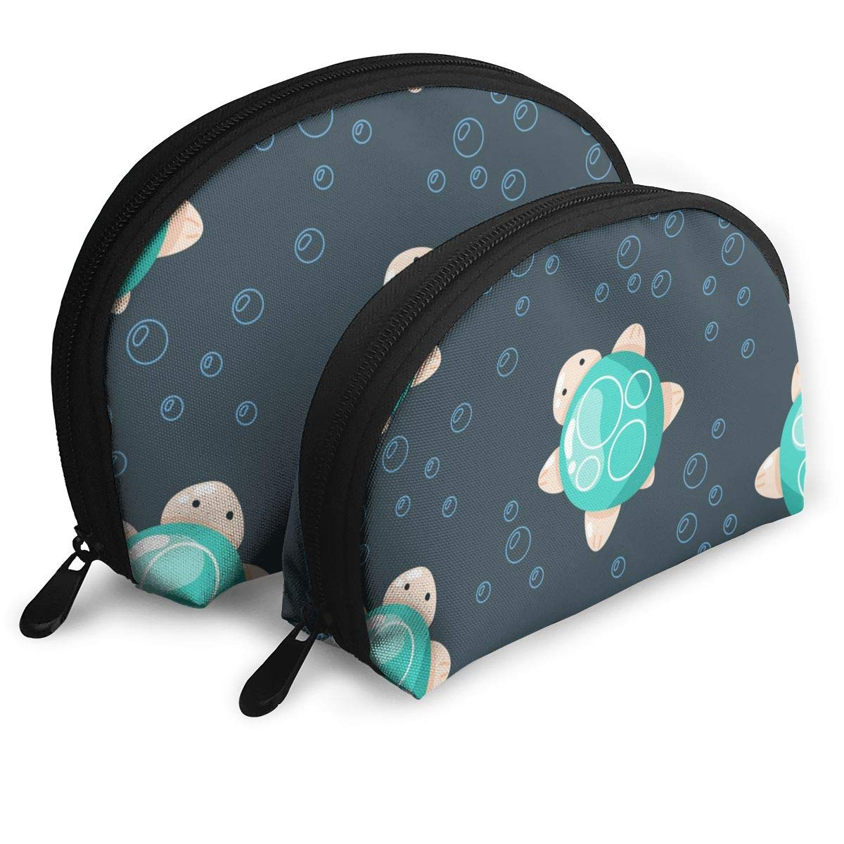 Cute Sea Turtle Creatures Portable Toiletry Bag Makeup Bag Portable Travel Bags Makeup Clutch Pouch Coin Purse Set 2 Piece