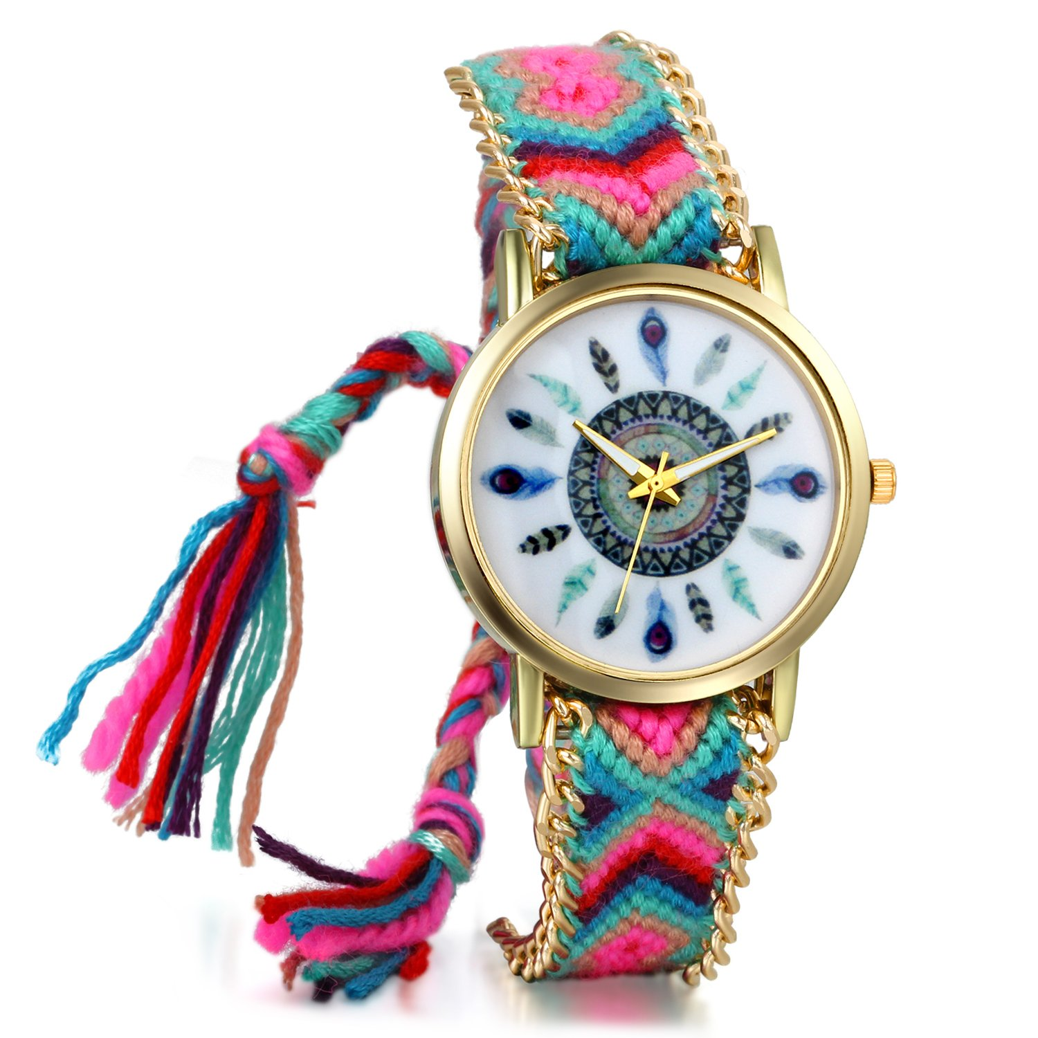 JewelryWe Women Friendship Bracelet Braid Watches with Vintage Feather Dial Mothers Day Gift