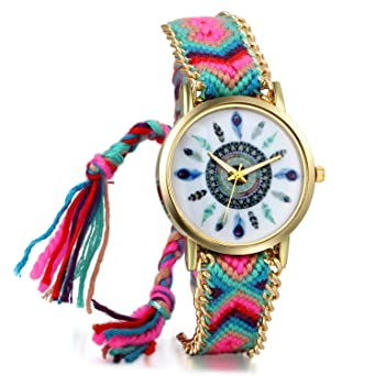 7060b4ceafd88 JewelryWe Women Friendship Bracelet Braid Watches with Vintage Feather Dial  Mothers Day Gift