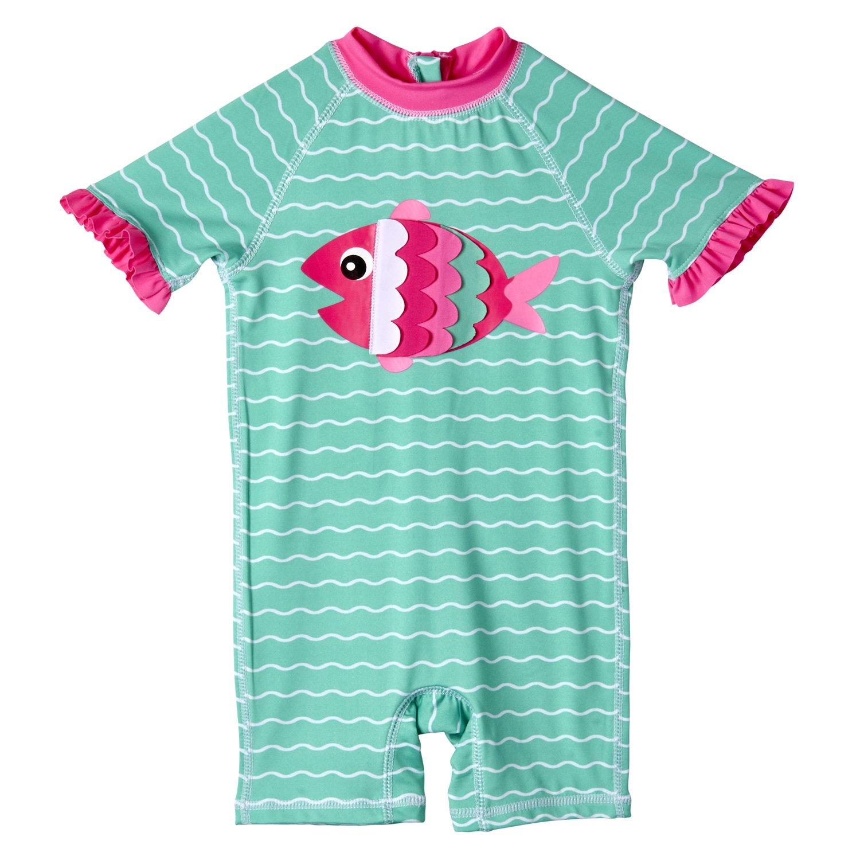 Wippette Infant Girls Onesie, 1-PC, Polyester, Short Sleeve, Rashguard Sun UV Protection