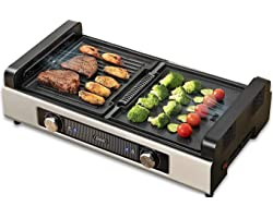Gevi Electric Indoor Smokeless Grill + Griddle, Nonstick Plates, 2 Cooking Zones with Adjustable Temperature, Black