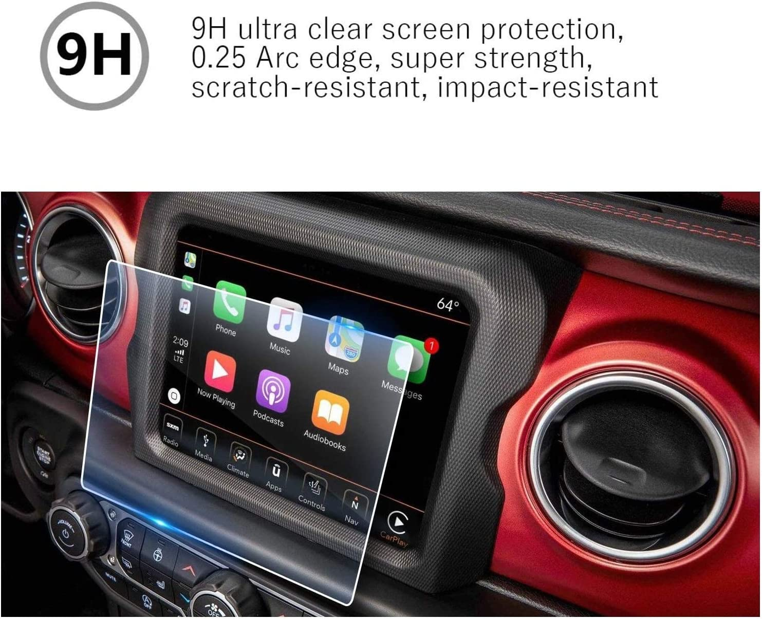 MBSIX Tempered Glass Screen Protector Compatiple with 2020 Jeep Wrangler 8.4 Inch Touch Screen,HD Clear,Scratch-Resistant,Anti Glare,Protecting Uconnect 8.4 Inch Screen