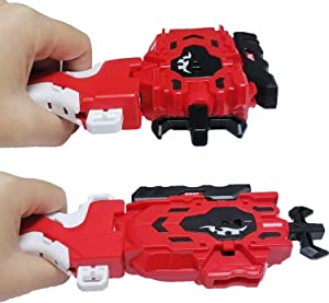 Beyblades Launcher and Grip , Battling Burst String Launcher Gyro Light Sparking Left&Right LR Spin Top Compatible with All Bey Burst Series Bey Battling Beyblades(Red)