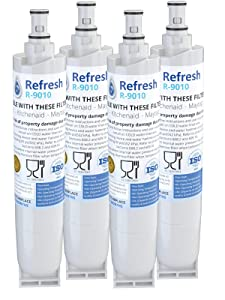 Refresh Replacement for Whirlpool 4396508, 4396510, EDR5RXD1, NLC240V, Kenmore 9085, Kitchenaid, Maytag, and Whirlpool Side By Side Refrigerator Water Filter (4 Pack)
