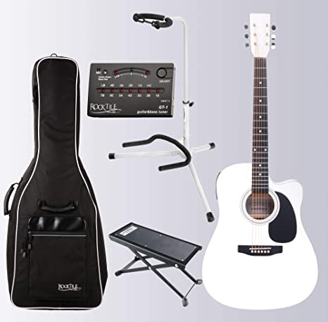 Classic Cantabile WS-10WH-CE - Guitarra acústica (estilo Dreadnought, con fonocaptor, cuerpo de tilo laminado, incluye funda, soporte para guitarra, reposapiés y afinador), color blanco: Amazon.es: Instrumentos musicales
