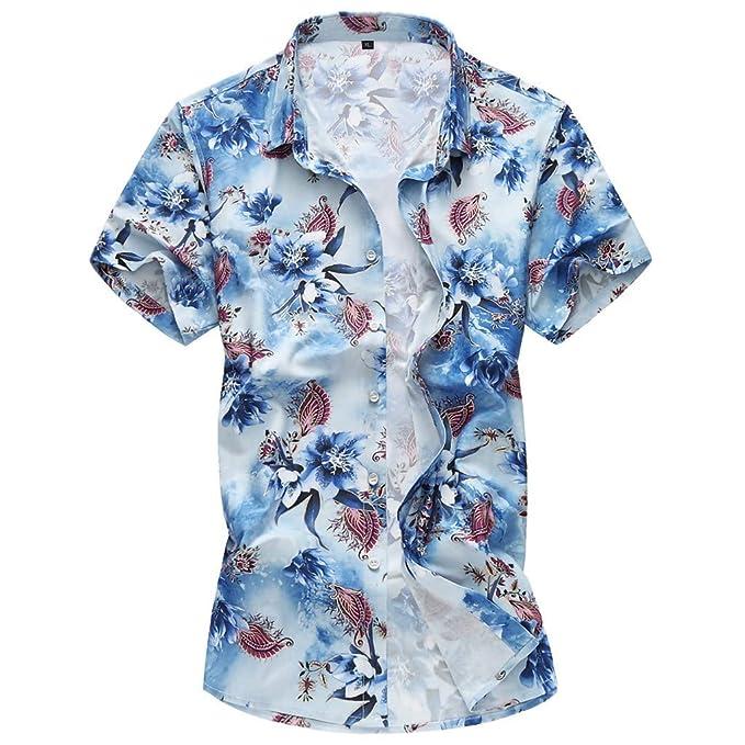 MAYOGO Camicia Casual da Uomo da Spiaggia a Maniche Corte