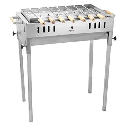 Hytec Terrace Garden Stainless Steel Charcoal Barbeque with 7 Skewers(Wooden Handle), 1 Iron Grill & 1 Packet of Charcoal