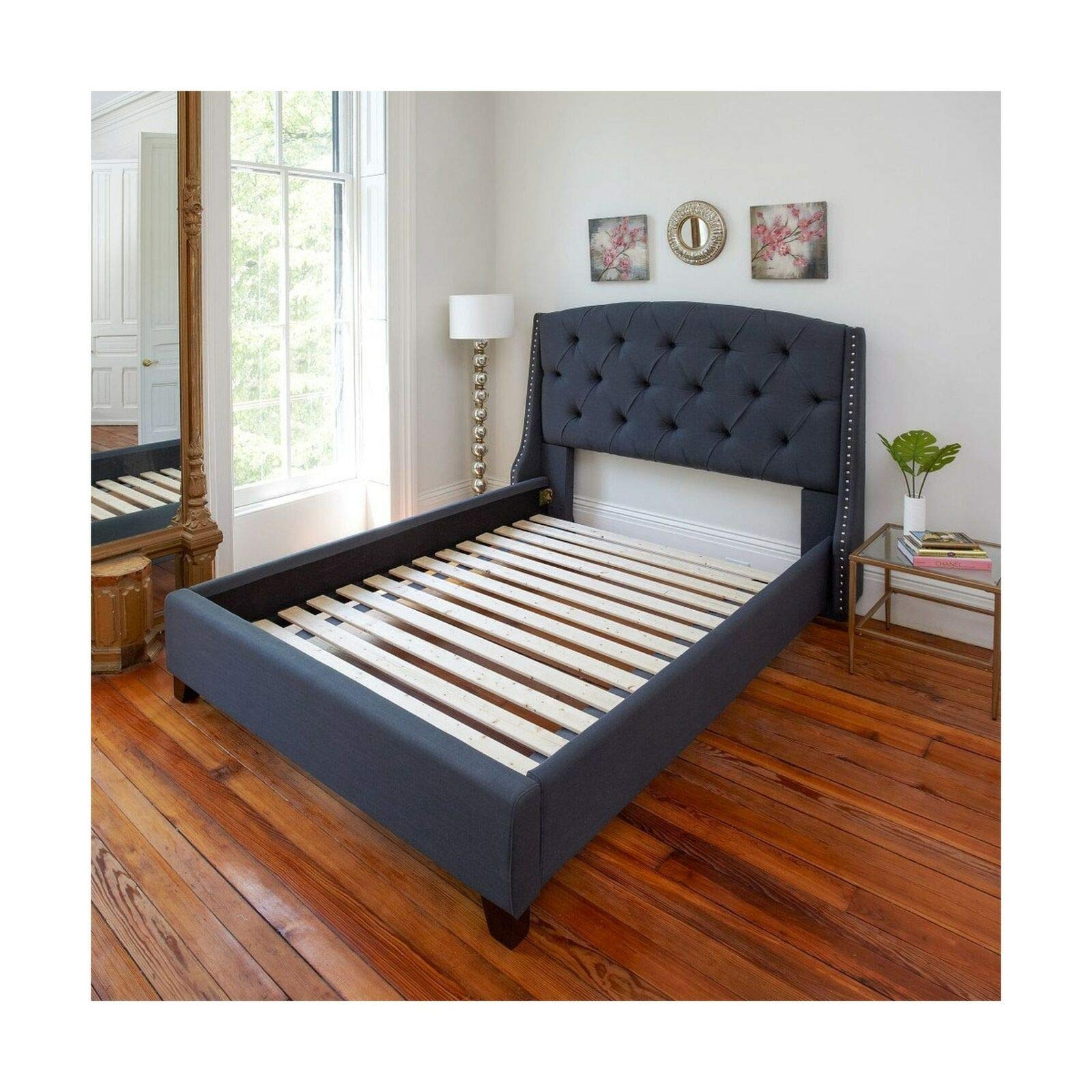 mewinshop Futuristic Queen Bed Classic Brands Heavy Duty Attached Solid Wood Bed Support Slats, 60'' W-Queen