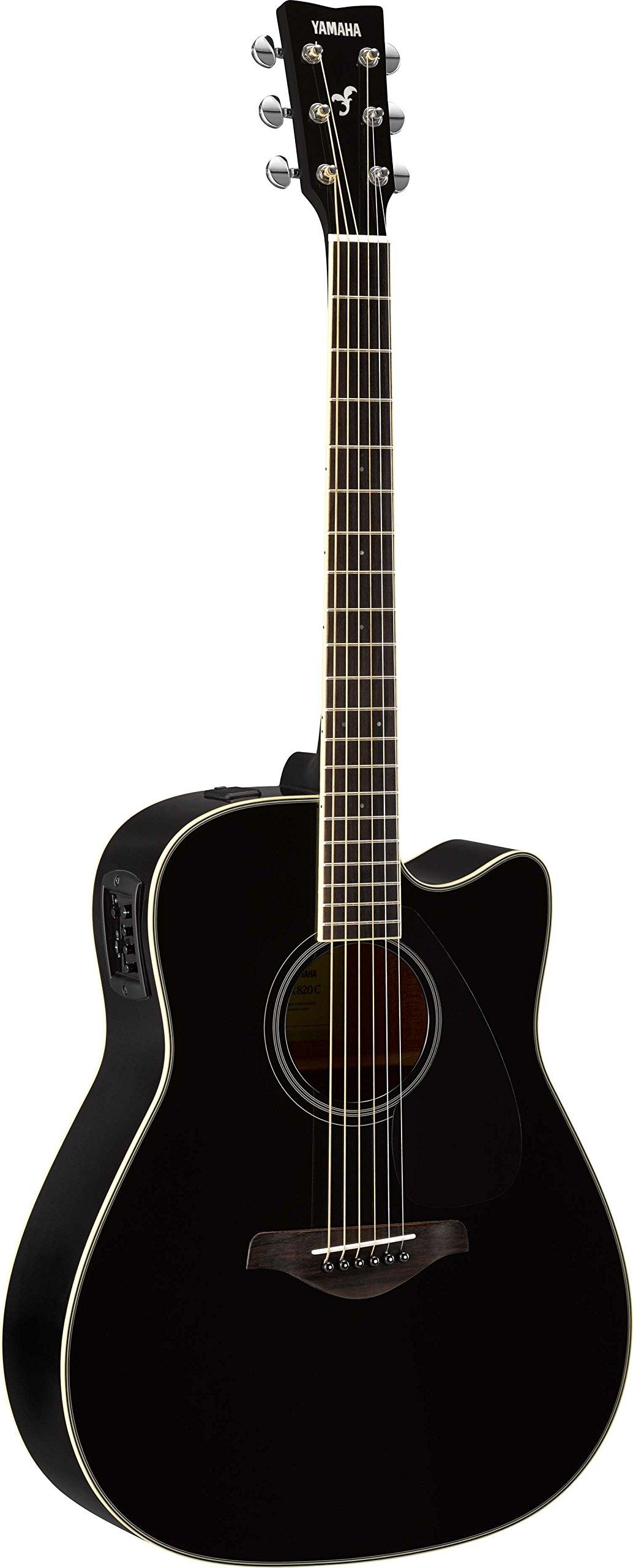 Yamaha FGX820C Solid Top Cutaway Acoustic-Electric Guitar, Black