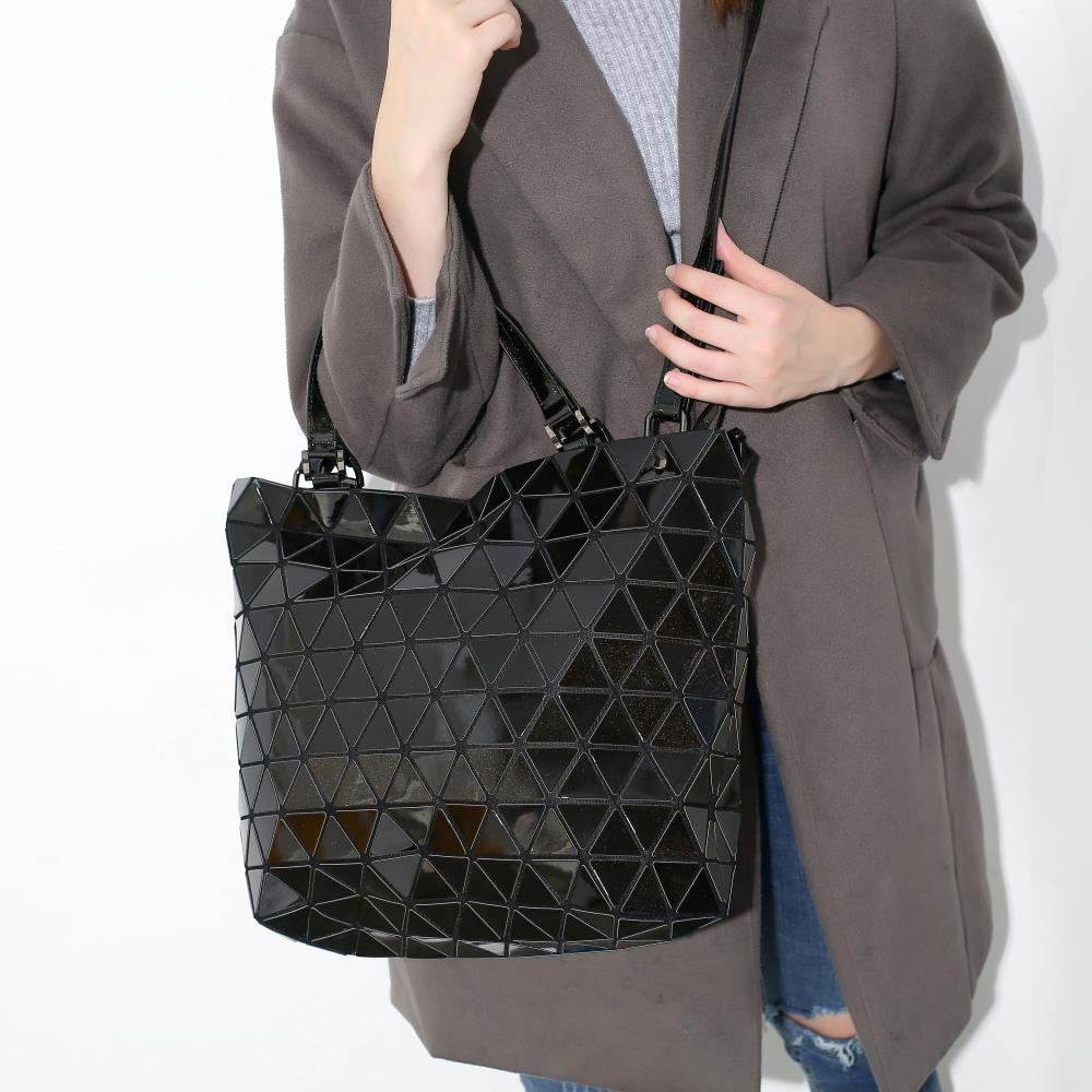 Black Diamond Lattice Handbag for Women - Gloss Convertible Shoulder Tote Bag with Adjustable Handles - PU Leather Fashionable & Tote Bag Purse for Party, Wedding & Causal Use by Draizee by Draizee (Image #6)