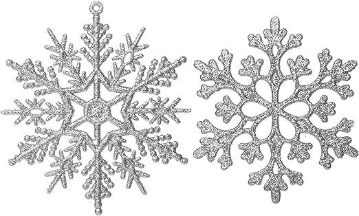 Eokeanon Adornos de copo de nieve con purpurina de Navidad de plástico Decoraciones para árboles de Navidad 4 pulgadas juego de 36 Plastic Christma
