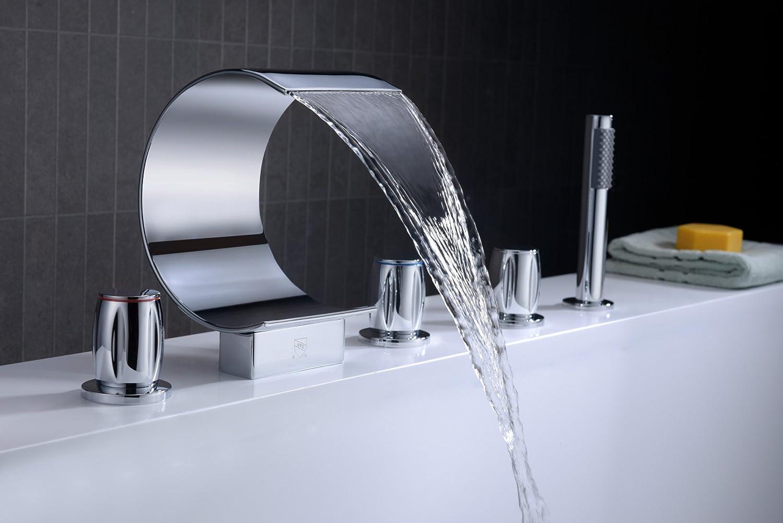 Ribbon 3-Handle Deck-Mount Roman Tub Faucet - - Amazon.com