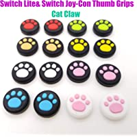 Silicone Joystick Thumb Grips Grip Cover Thumbstick Cap for Nintendo Switch Lite Console for Joy-Con Controller Joystisck Thumb Grip Cap Cat Paw Claw (Yellow)