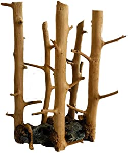 Hamiledyi Aquarium Driftwood Natural Mini Assorted Branches Reptile Ornament,Handcrafted Fish Tank Decoration Tree Stump Forest Shelf Helps Balance Water pH Levels Stabilizes Environments