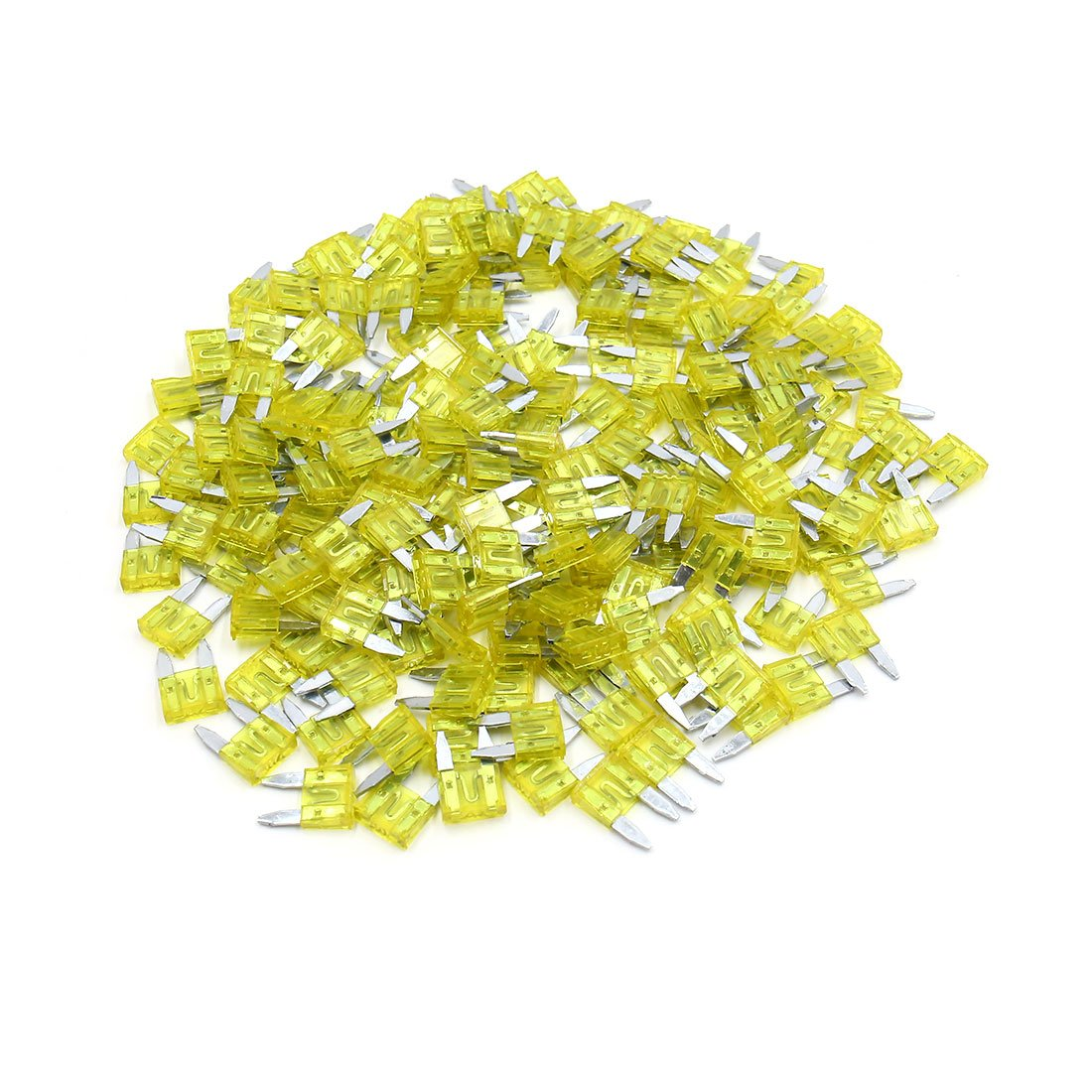 uxcell 200pcs 20A Yellow Plastic Case Small Blade Style Fuse for Car Vehicle Motorcycle