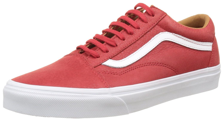 Vans Unisex Old Skool Classic Skate Shoes 7.5 D(M) US Mens / 9 B(M) US Womens|(Premium Leather) Racing Red/True White