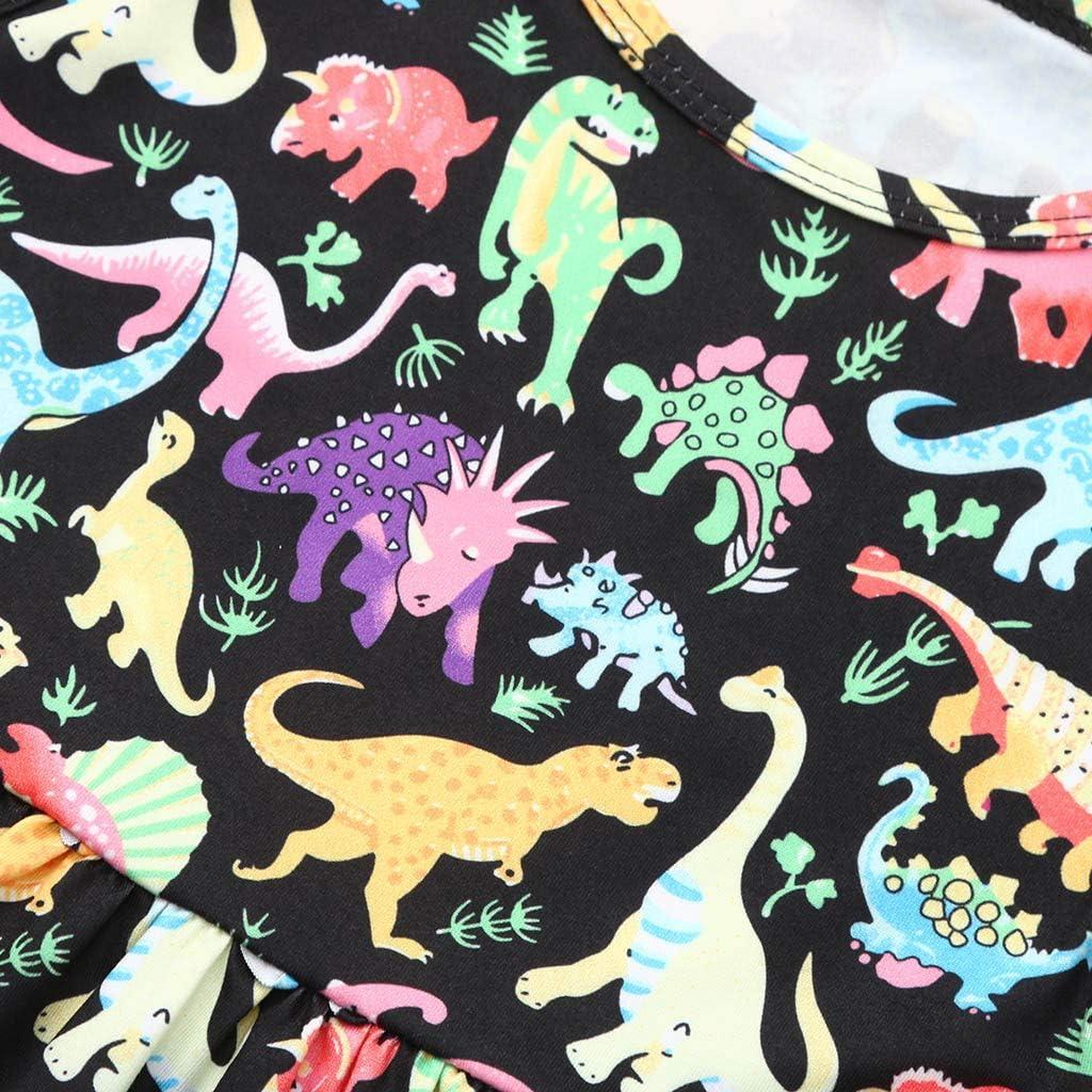 Little Girls Dress,Fineser Baby Girls Sleeveless Cartoon Dinosaur Print Flare Dress Toddler Casual Dress Sundress