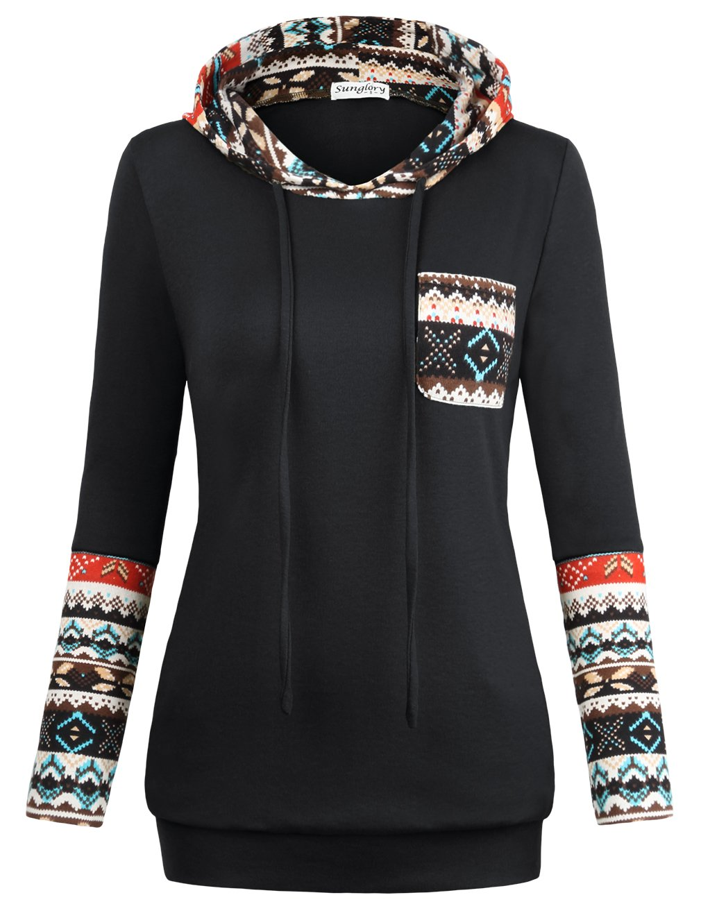 SUNGLORY Pullover Sweatshirt,Relaxed Fit Long Sleeve Tops Sweatshirt Tunics