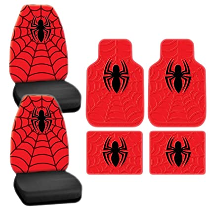 6pc New Marvel Spiderman Red Seat Covers Front Rear Rubber Mats Universal Set