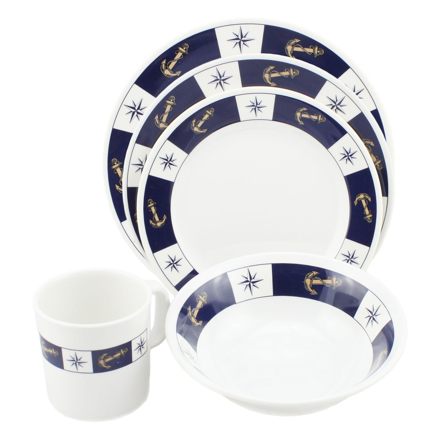 Amazon.com | Norestar Melamine Galleyware Nautical Boat Dish Set Bowls Plates Mugs (20-piece) Anchor/Compass Theme - Perfect Gift for Boater Boating ...  sc 1 st  Amazon.com & Amazon.com | Norestar Melamine Galleyware Nautical Boat Dish Set ...