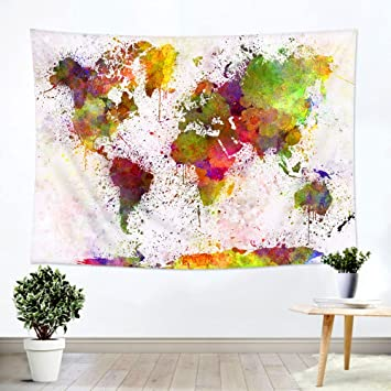 Amazon ileadon watercolor world map tapestry wall hanging ileadon watercolor world map tapestry wall hanging light weight polyester fabric wall decor for gumiabroncs Images