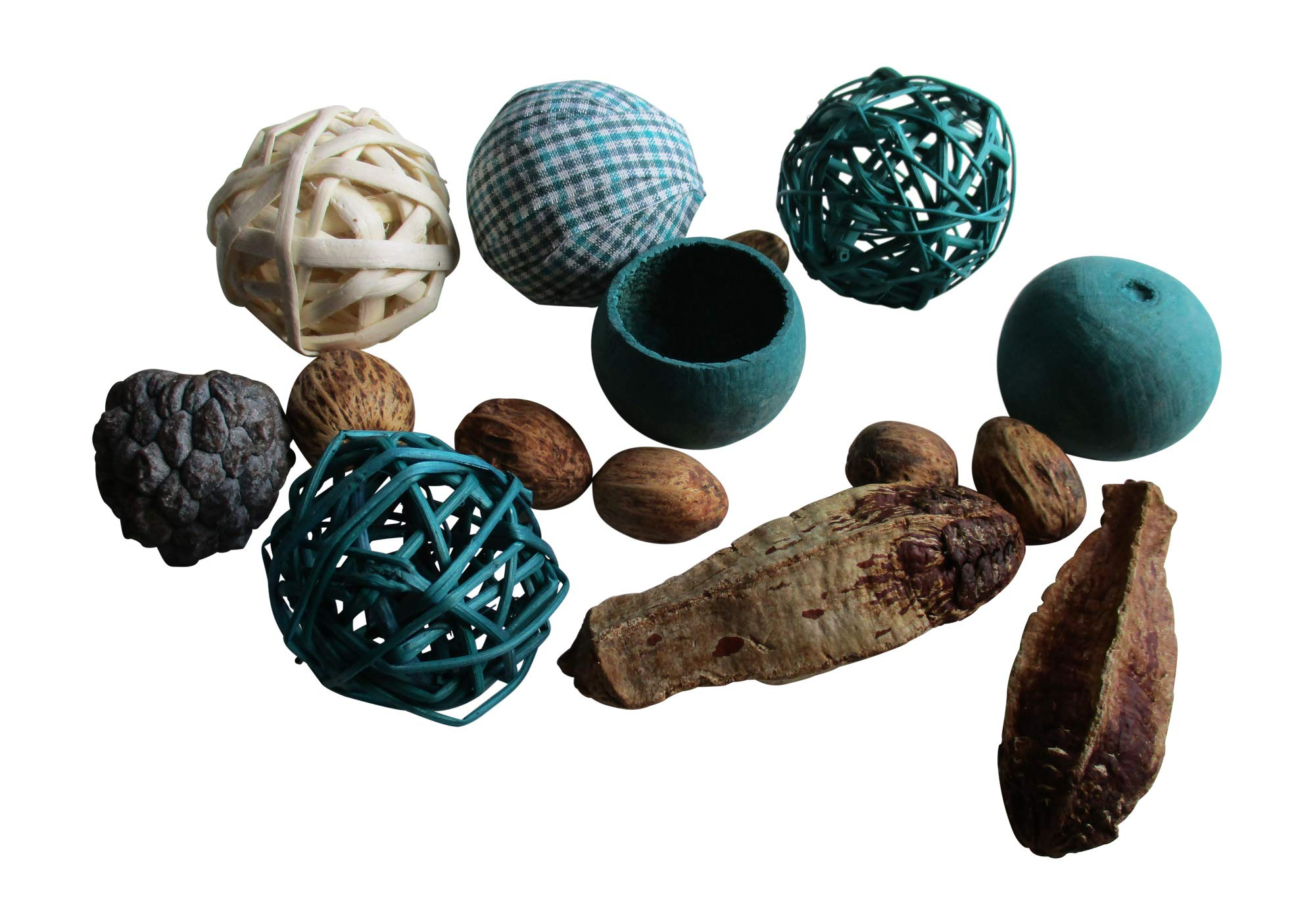 From The Attic Crafts RagBall, Twig Balls, Pods, Seeds Bowl Filler Set Auqa and Tan 11 Pieces