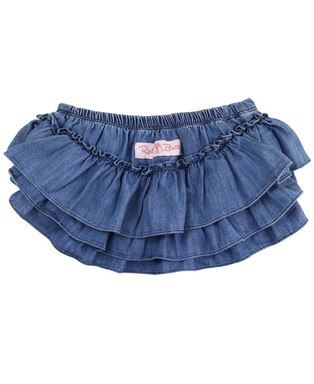 RuffleButts Little Girls Light Wash Denim Skirted Bloomer - 12-18m