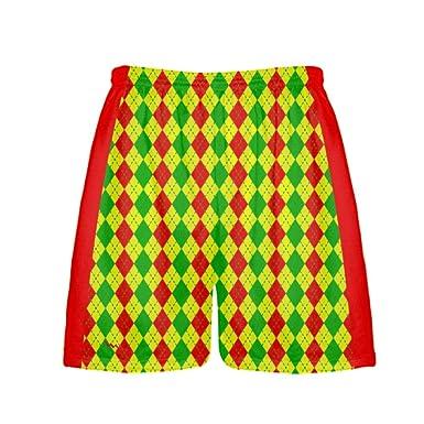 fe0c00a65fb6a LightningWear Argyle Christmas Shorts - Green Red Argyle Lacrosse Shorts -  Athletic Shorts (Small)
