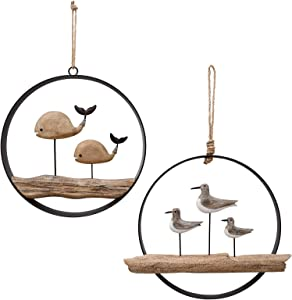 Nautical Wood Wall Decoration Rustic Wooden Hanging Circle Ocean Home Decor Hand Carved Beach Themed Ornament for Door (Whale + Seagull)