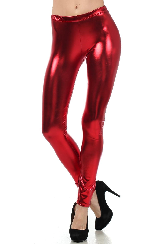 Sakkas Fl/üssige Wet Look Shiny Metallic Stretch Leggings