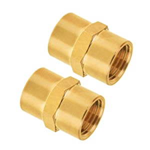 "Pipe Fitting, SUNGATOR Brass Air Fitting, Coupling, 1/4"" x 1/4"" Female Pipe, Air Hose Fittings, Air Tool Fittings (2-Pack)"
