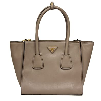 817ea53900eb Prada Glance Twins Leather Shopping Tote with Shoulder Strap 1BG625 Pomice  Grey