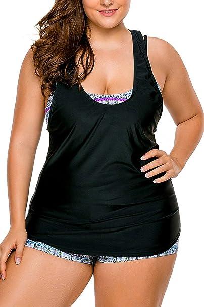 a8ceabbd249 WoldGirls Womens Plus Size Tankini Swimsuit Swimwear Strappy 3 Piece Bikini  Set (Black Grey,