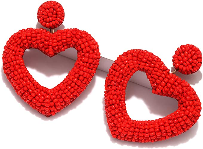 CEALXHENY Beaded Drop Earrings Handmade Seed Bead Heart Hoop Dangle Earrings Bohemia Statement Earring Studs for Women Girls