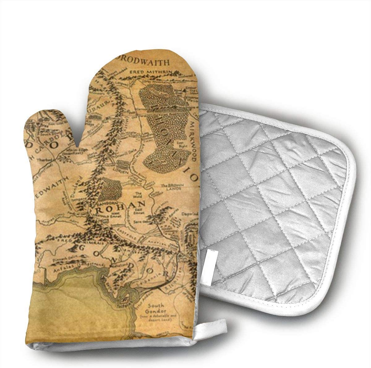 Lord of The Rings Map Oven Mitts and Potholders (2-Piece Sets) - Kitchen Set with Cotton Heat Resistant,Oven Gloves for BBQ Cooking Baking Grilling