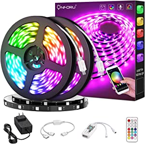 Onforu 66ft Smart WiFi LED Strip Lights, 20m RGB Light Strip Compatible with Alexa, Google Assistant, Dimmable Colored LED Light Strip by App Control, Music Synchronize Color Changing Tape Lights